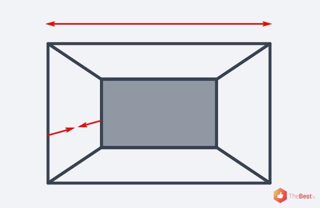 Optiski paplašināt telpu var samazinot tās dziļumu, tam nepieciešams izcelt ar krāsu tikai tālāko sienu