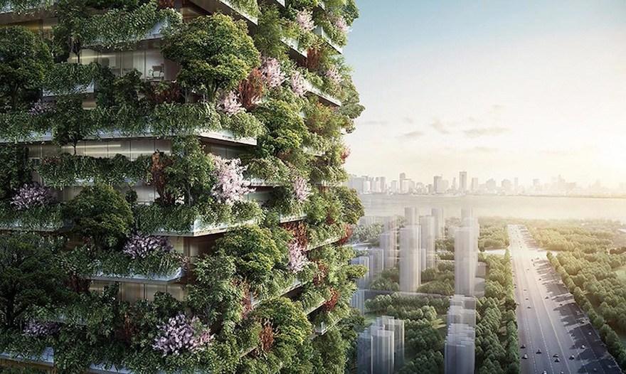 Uz torņiem izvietotie koki un krūmāji ik dienas saražos 60kg skābekļa un arhitekti cer ka tas veicinās vietējās floras atjaunošanos
