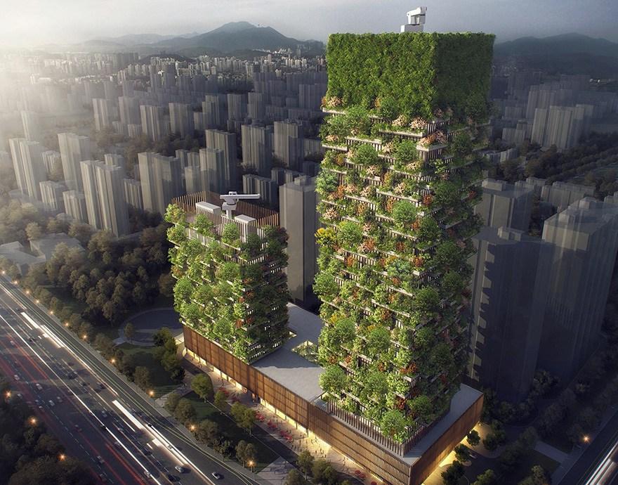 Torņi atrodas Ķīnas pilsētā Naņdzjina. Tajos augs vairāk nekā 1000 koki un 2500 krūmāji no 23 dažādām vietējām šķirnēm. Viens no torņiem būs 200m augsts, otrs 107m augsts.
