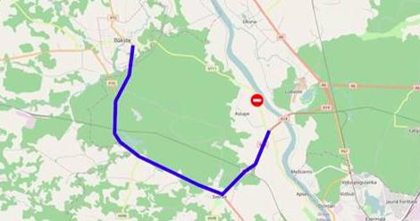 Slēgts autoceļš Ilūkste–Urbanišķi–Daugavpils